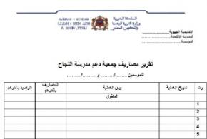 نموذج تقرير مصاريف جمعية دعم مدرسة النجاح